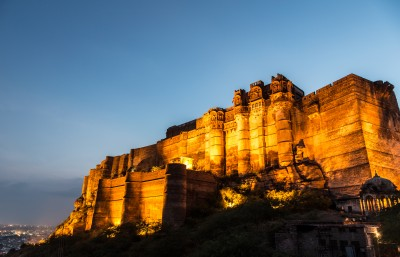 Night view of the spectacular Mehrangarh Fort