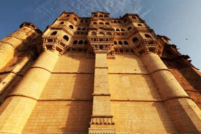 The tower walls of the Mehrangarh Fort