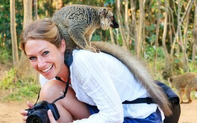 Tame lemurs at Vakona