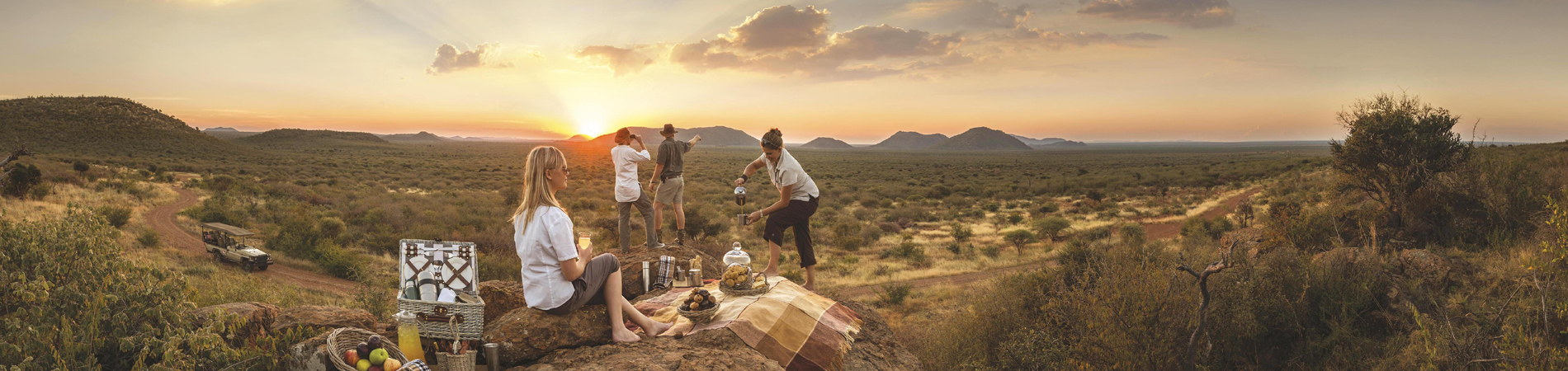 Bush picnic at sunset