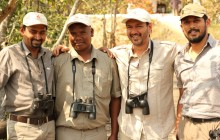 Karan and the expert naturalist team at Flame of the Forest