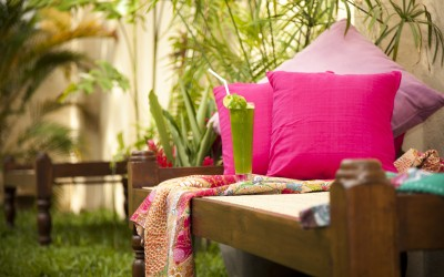 Enjoy a refreshing juice in the garden at Mango House