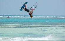 Kite-surfing at Waterlovers, Diani Beach
