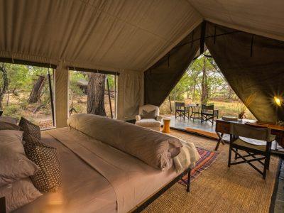 The tent interiors at Machaba Camp