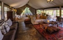 The chic main guest lounge at Machaba Camp